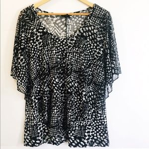 Susan Lawrence Printed V Neck Top Size X Large